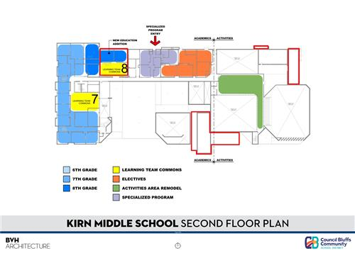 Floor Plan of 2nd Floor-Kirn Middle School