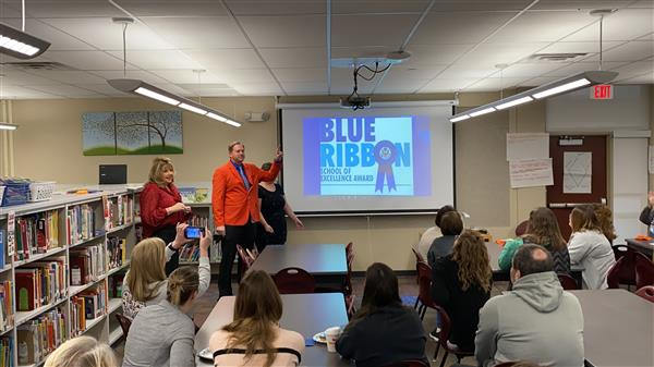 Rue Principal Casey Moran shares that Rue Elementary has been named a National Blue Ribbon School Nominee